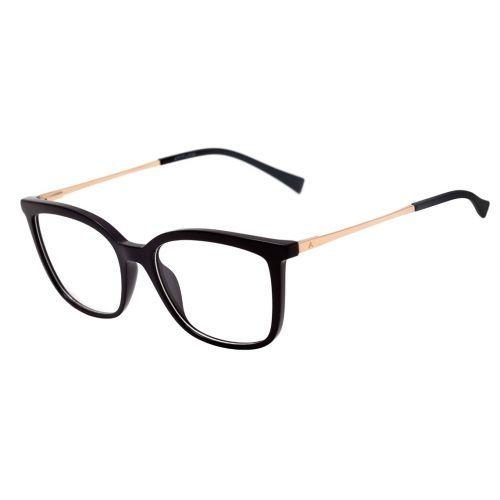 Oculos De Grau Atitude At 4111 A01 Preto E Dourado Brilho Lente