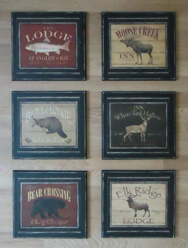 Lodge Wall Decor Plaques, Trout Fish Deer Beaver Elk Bear rustic ...