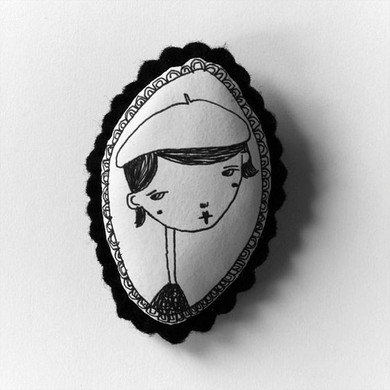 Parisian girl - b&w handcrafted and illustrated brooch felt from depeapa on Etsy