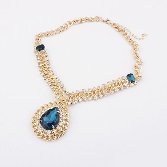 COMING SOON! Royal blue glass stone drop necklace Details coming soon Jewelry Necklaces