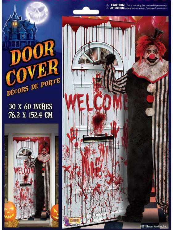 Evil Clown Door Cover With Images Evil Clowns Scary Halloween Costumes Fun Wedding Invitations