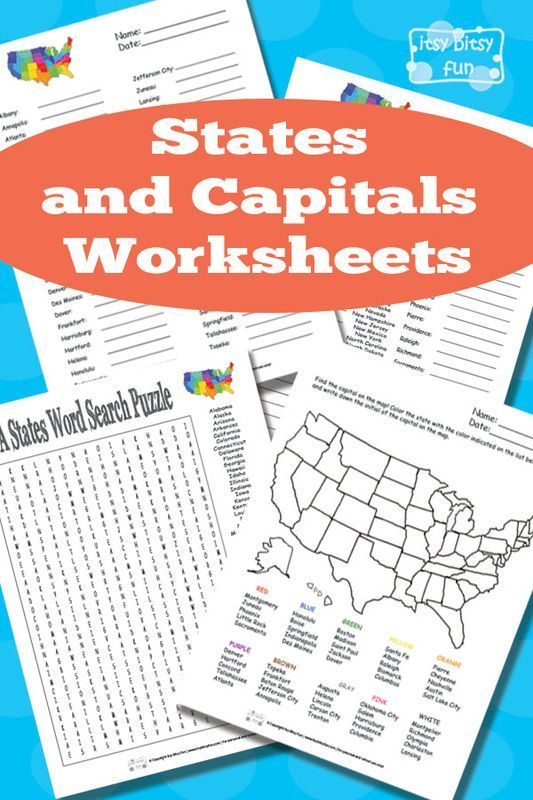 Free Printable States And Capitals Worksheets Homeschool Social Studies Homeschool State And Capitals Worksheets State and capitals worksheets