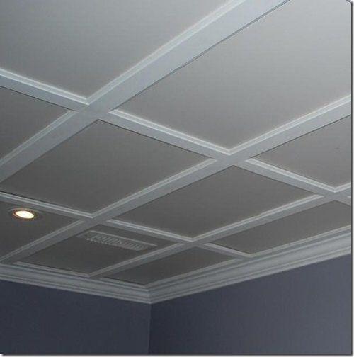 Flat Coffered Ceiling Basement Makeover Basement Remodeling