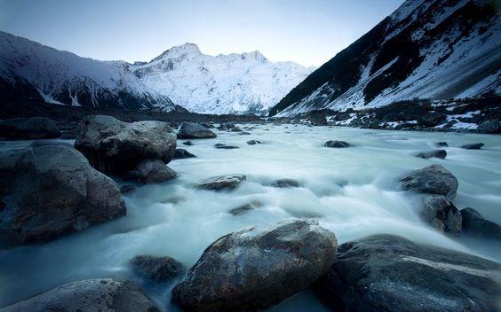 Mountains Sea Snow New Zealand
