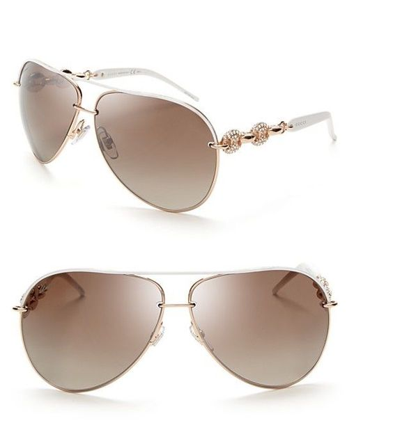Gucci GG4230/S 6DFJD Aviator Brown Lens/White & Rose Gold ...