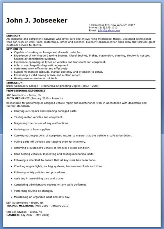 auto mechanic resume sample free creative resume design