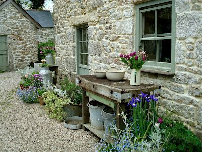 Old table and pots, Cornwall
