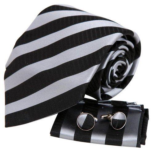 Black tie designer for mens silver stripes Valentine fashion silk necktie cufflinks hanky set H5137  Black Y&G http://www.amazon.com/dp/B003K18ZAI/ref=cm_sw_r_pi_dp_mZbaxb1K3KQDV