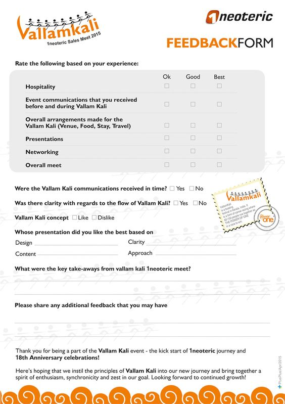Desing layout of feedback forms for Vallamkali meet Vallamkali - event feedback form in pdf