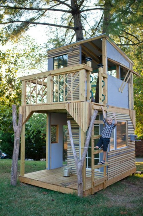 kinder spielhäuser mit zwei stöcken helles holz und hellbalu, Schlafzimmer design