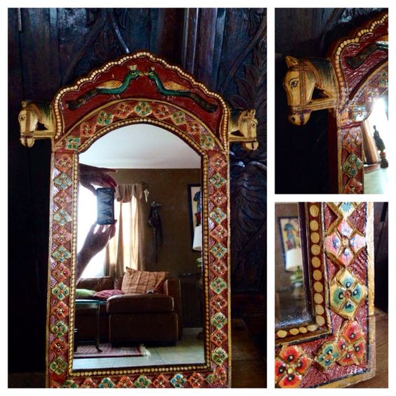 Vintage Ethnic Exotic India Hand Painted Mirror, Wall ...
