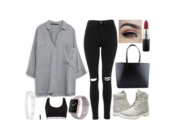"""""""Untitled #849"""" by kendalcanswim ❤ liked on Polyvore featuring Topshop, Timberland, Yves Saint Laurent, MAC Cosmetics, Tommy Hilfiger, Karen Kane and Cartier"""
