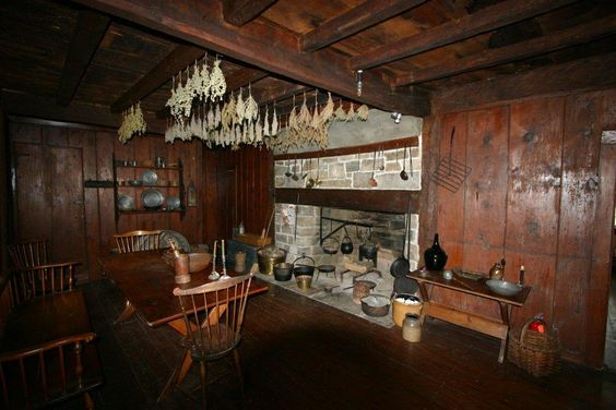 Early Colonial kitchen fireplace