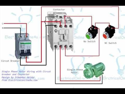 Single Phase Motor Contactor Wiring Diagram In Urdu Hindi Electrical Circuit Diagram Circuit Diagram Electrical Wiring Diagram