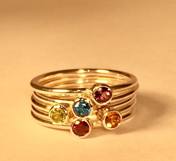 Image of Gemstone Stacking Rings
