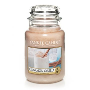 Cinnamon Vanilla : Large Jar Candle : Yankee Candle : This irresistible blend of ground cinnamon and rich vanilla is inspired by the refreshing horchata, a popular drink ... The one we are burning is pretty strong!!