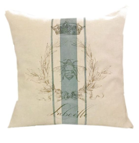 French Pillow French Bee Linen Pillow by DevineImagination on Etsy