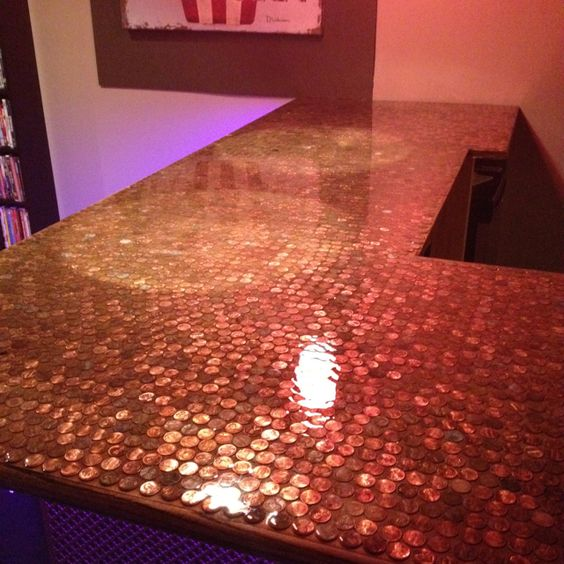 Finished and installed penny bar top home improvements for Copper penny bar top