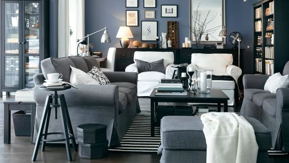 hemnes wohnzimmer weiß:Blue and Grey Living Room