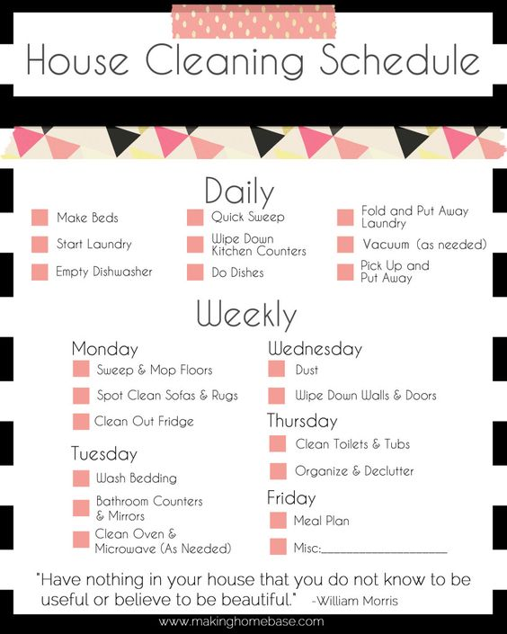 A Basic Cleaning Schedule Checklist Printable Cleaning schedules - sample house cleaning checklist