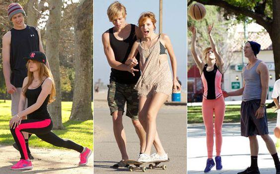 Bella Thorne e Tristan Klier  Casal atleta: Bella e Tristan formam um dos casais mais fofos do momento! Os dois sempre são vistos juntos praticando alguma atividade física, como basquete, corrida e skate, e, claro, se divertindo muito com todas. Para isso, nada melhor do que roupas confortáveis e tênis!