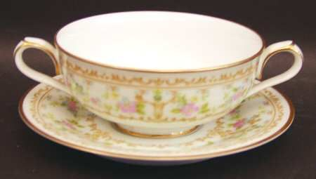 Footed Cream Soup Bowl & Cup Saucer Set in the Long Ago pattern by Noritake