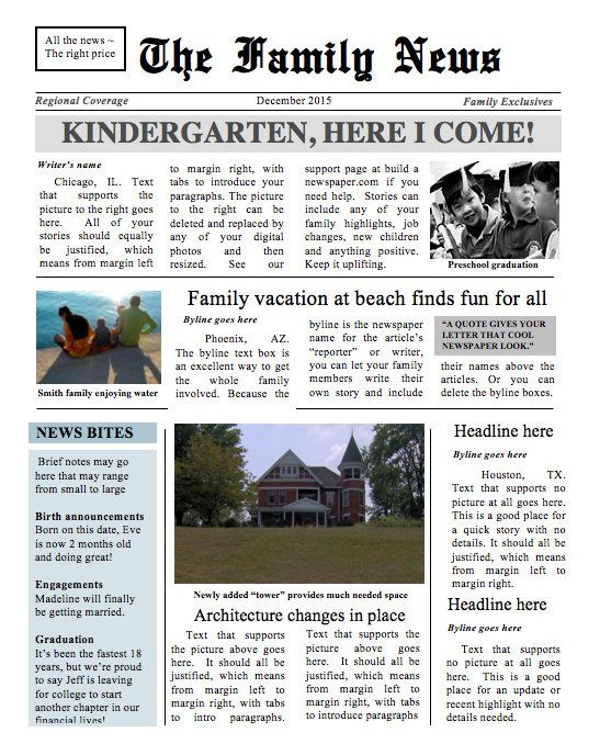 Two Page Family Times Newspaper Template Instant Download To Use