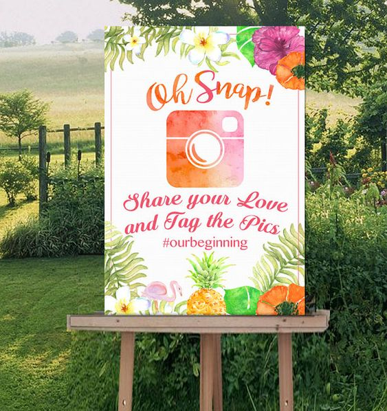 Oh Snap Instagram Wedding Sign-Tropical Luau by Hottomatoink2