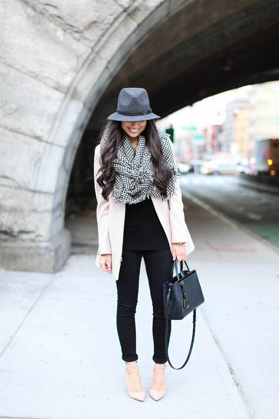 Winter City Fashion 2013. Houndstooth scarf & a gorgeous fedora. ::M:::