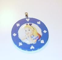 ALICE IN WONDERLAND CASINO POKER CHIP PENDANT NECKLACE *FREE SHIPPING*