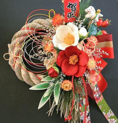 お正月飾りしめ縄/輪飾りお楽しみ●紅白江戸椿しめ縄