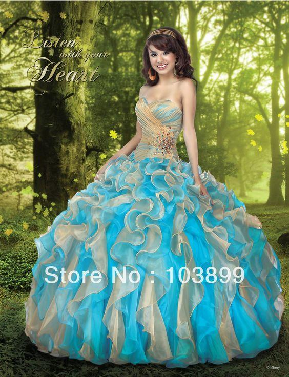 2014 prachtige baljurken sweetheart organza ruches gezwollen lange kristallen champagne en blauw quinceanera jurken €143,30
