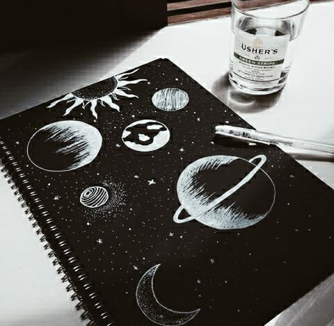 Art Drawing Heart Planets Cosmos Sketch Creativity Https Weheartit Com Entry 326575258 Word Art Drawings Black Paper Drawing Space Drawings