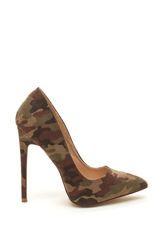 Complete your look from head to toe with a fun twist on timeless heels. Vegan nubuck pumps feature a classic silhouette with a pointy toe box and an allover camo print. Finished with thin stiletto heel and a textured sole. Pattern placement may vary. Head To Toe Faux Nubuck Camo Pumps CAMOUFLAGE - GoJane.com (affiliate)