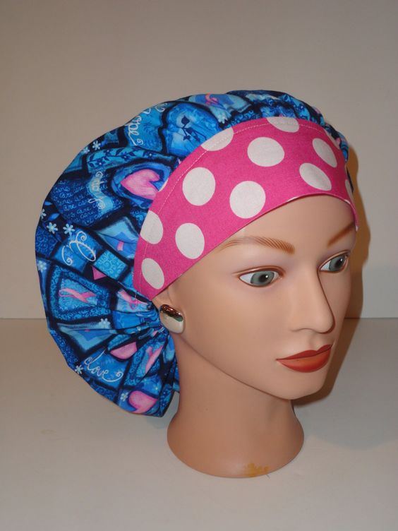 The Perfect Sized Bouffant Scrub Cap...Breast Cancer Awarness Love,Hope w/Pink…