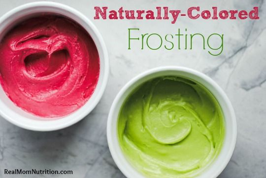 Kid-approved recipes for red and green frosting tinted with natural colors (beets and spinach!) -- by Real Mom Nutrition