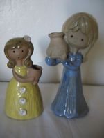 Vtg Japan Art Pottery Girl Figurines With Pots 1970s Stoneware