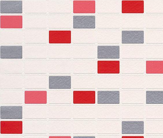 PAPEL PINTADO PARA COCINAS Y BAÑO LAVABLE RASCH AQUA DECO  Papel pintado super-lavable de colores variados, imitación a pequeños azulejos