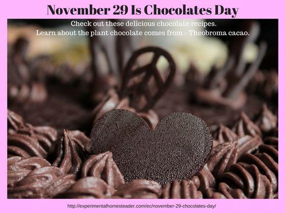 November 29 Is Chocolates Day - Elegant Cooking - Experimental Homesteader http://experimentalhomesteader.com/november-29-is-chocolates-day-elegant-cooking-experimental-homesteader/?utm_campaign=coschedule&utm_source=pinterest&utm_medium=Sheri%20Ann%20Richerson%20-%20Experimental%20Homesteader%20&utm_content=November%2029%20Is%20Chocolates%20Day%20-%20Elegant%20Cooking%20-%20Experimental%20Homesteader