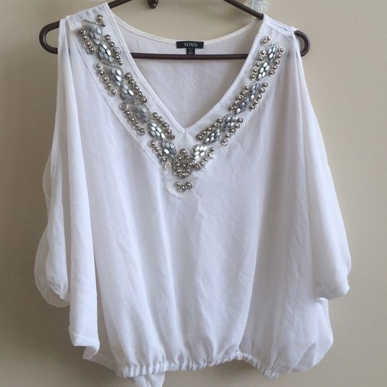 XOXO- Gorgeous, Beaded White See-Thru Blouse Gorgeous. See-thru tulle material. Ruched at bottom and at sleeves. Beautiful, detailed neck line. Sexy Peek-a-boo shoulder cuts. XOXO Tops Blouses