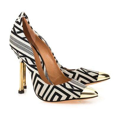SCARPIN ETHNIC CAP TOE - Schutz, shoes, glamour, sapatos, preto e branco, salto: