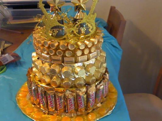 Golden birthday candy cake empty                              …