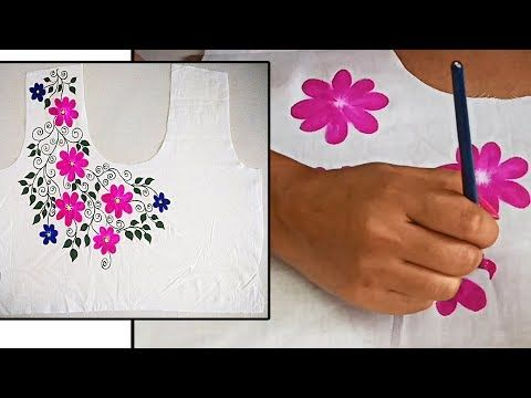 Diy Free Hand Painted Border Design On Kurti Sarees Blouses Easy Fabric Painti Hand Embroidery Designs Saree Painting Designs Fabric Painting Techniques