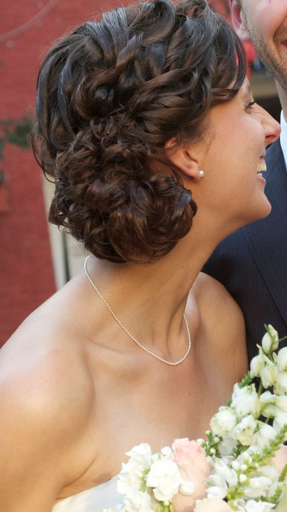 Side swept curls updo - from side.    Credit Tyler Mitchell Photography.