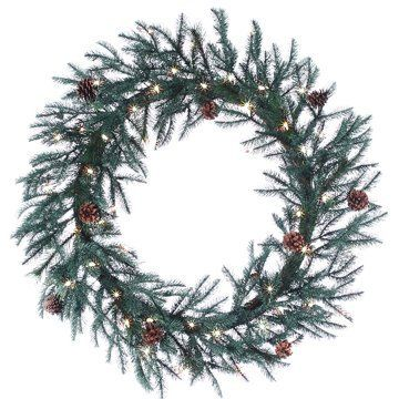 """30"""" Pine/Cedar(pe) Wreath x110 w/Cones 100 Clear Lights Green (Pack of 2) by Silk Decor. $205.80. Lights - 100 clear each. This listing is for 1 case. You will receive 2 items per case - 1 item shown in picture. Stems - 110 each. Height - 30"""". 30"""" Pine/Cedar(pe) Wreath x110 w/Cones 100 Clear Lights Green. Weight: 103.20 OZ (Pack of 2)Some assembly may be required. Please see product details. Some assembly may be required. Please see product details.. Save 26% Off!"""