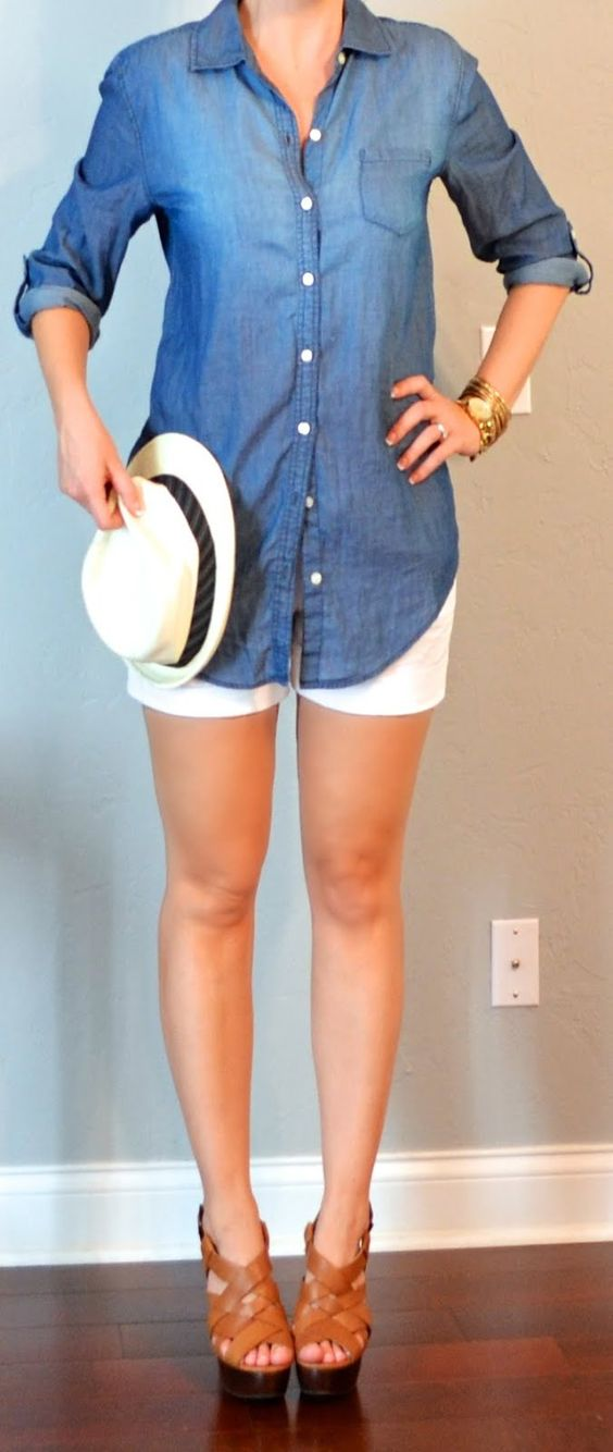 Cute! Chambray top, white shorts, and cognac wedges! And fedora! I don't know about the fedora on me but this look is cute cute!!