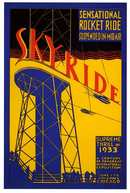 vintage poster Skyride amusement park ride at Chicago Exhibition 1933. | OldBrochures.com