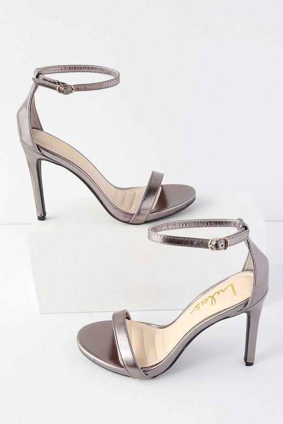 Loveliness Pewter Metallic Ankle Strap