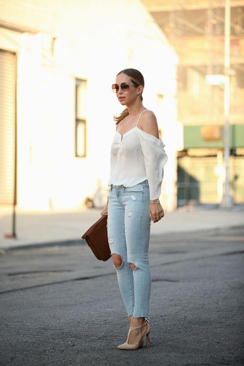 ecstasymodels:  DistressedTop: Nicole Miller Artelier ℅ | Denim: Frame | Bracelets: Kendra Scott 'Ryker' Bracelet | Shoes: Louboutin (similar version in black) | Sunglasses: Chloe 'Nerine'Fashion By Brooklyn Blonde
