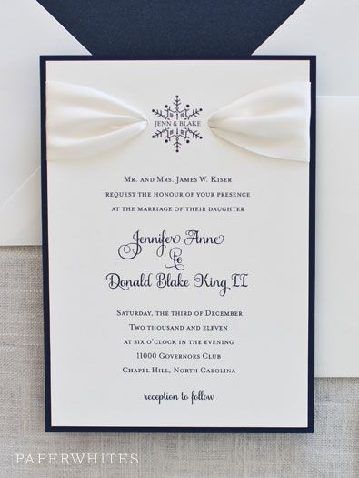 Our Snowflake Ribbon invitation is a true classic shown here in navy ink with and ivory ribbon detail. Love the ribbon look, but not crazy about the snowflake? Try a different motif such as a starfish, sand dollar, monogram initials, palm tree, fall leaf...the options are endless! You MUST choose a backing mat layer on all of our ribbon style invitations.